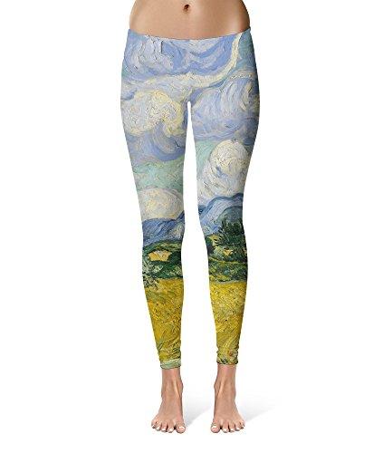 本会議無視一般的なVincent Van Gogh Fine Art PaintingレギンスXS - 3 X Lライクラジムヨガフル長