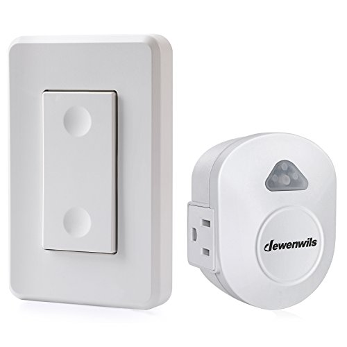 DEWENWILS Wireless Wall Control Outlet, Electrical Remote On Off Light Switch for Lamp, No Interference, 15 AMP Heavy Duty, 100' RF Range, Compact Side Plug, White ()