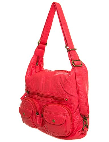 by Vegan Backpack Ampere Salmon Purse Crossbody Leather amp; 3 Creations Convertible way UUr6w8
