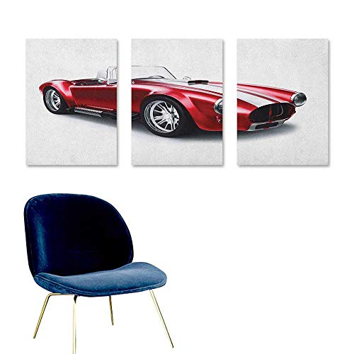 (Agoza Cars Canvas Pictures Old Fashioned Vintage Coupe Car Automobile Illustration with Digital Smooth Color Effects Oil Canvas Painting Wall Art 3 Panels 16x24inch Red)