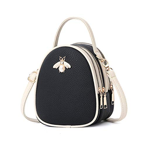 white School Bag Small Hiking White Bee Backpack for Purse Daily Black Work Shoulder Handbag Bag Vistatroy Leather black Mini Genuine Travel waIfRq
