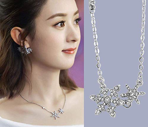 Weishu Women's 925 Sterling Silver AAA Rhinestone Snowflake Pendant Necklace Ladies Jewelry Fashion Necklace