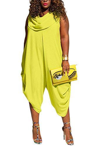 Inorin Womens Plus Size Summer Wide Leg Harem Jumpsuits Casual One Piece Cowl Neck Sleeveless Rompers Outfits (Cowl Neck Jumpsuit)