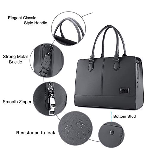 MOSISO Laptop Tote Bag for Women (Up to 15.6 Inch), Premium PU Leather Large Capacity with 3 Layer Compartments Business Work Travel Shoulder Briefcase Handbag, Space Gray by MOSISO (Image #3)