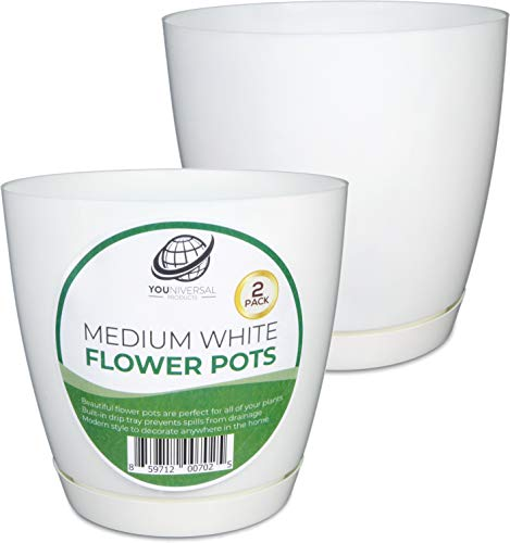 (YOUniversal Products - Medium White Plastic Flower Pot -)