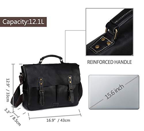 Leather Messenger Bag for Men, VASCHY Handmade Full Cowhide Leather Vintage Satchel 15.6 inch Laptop Business Briefcase Travel Shoulder Bag Black by VASCHY (Image #2)