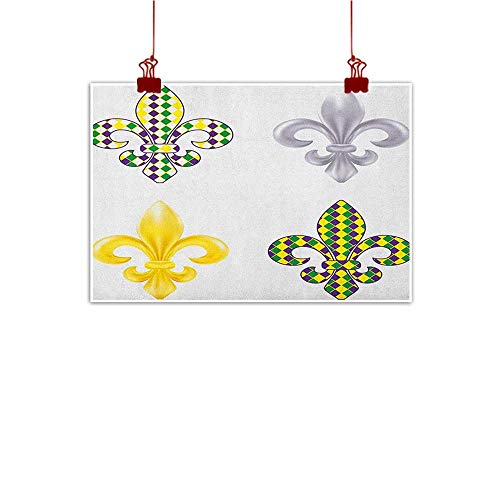 (Anyangeight Canvas Prints Boho Mardi Gras,Fleur De Lis Motifs with Mardi Gras Pattern Traditional Lily Flowers Collection, Multicolor 24