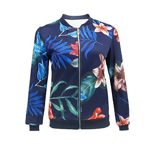 Floral Navy Zipper Outerwear Jackets Cardi Short Howme Style blue Women Baseball Printed vSHYTw