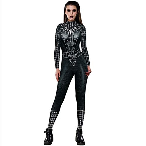 Tsyllyp Womens Spiderman Bodysuit Superhero One Piece Costume Sexy Jumpsuit]()