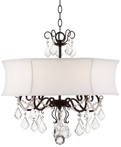 Zula White Shade 22″ Wide Crystal Chandelier For Sale