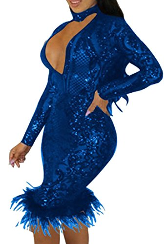 Blu Donne Aderente Scollo Scuro Vestito Lunga V Sexy Randello Paillettes Manica Cromoncent A Fq4Bc1wFP
