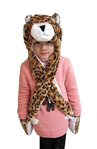 Tonwhar Cartoon Animal Hood Hoodie Hat with Attached Scarf and Mittens (Leopard) - Leopard Hoodie Girls Costumes