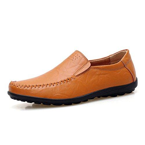 e Mocassini comodi Brown Boat da pelle Scarpe in Shoes mocassini uomo Uomo Slip traspiranti Yellow On Casual uomo wz48t4