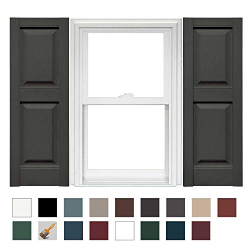 Mid-America Williamsburg Raised Panel Vinyl Standard Shutter - 1 Pair 14.75 x 80 018 Tuxedo Gray by Mid-America