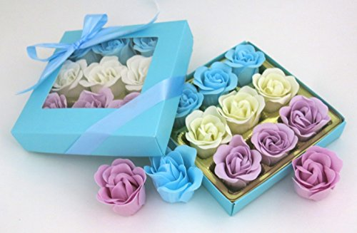 Mom's beauty Rose Bath bombs, includes nine rose flower bath bombs with blue gift box