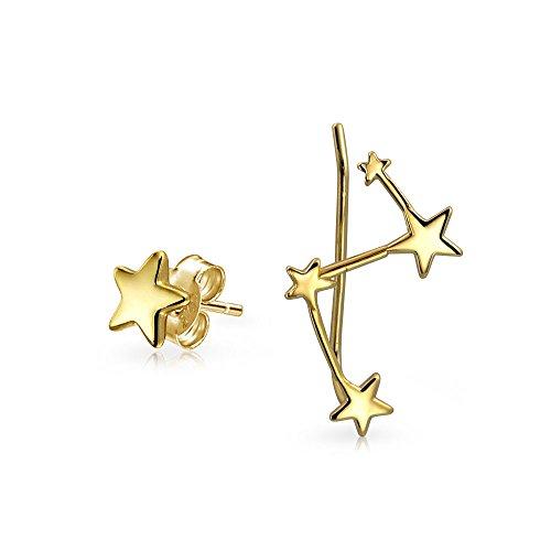 Celestial Star Stud Constellation Ear Climber Crawler Stud Earrings For Women For Teen 14K Gold Plated Sterling Silver