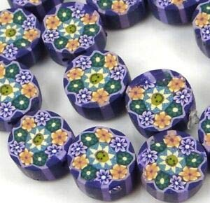10mm Lavender Blossom Flower Polymer fimo Clay Disc Beads (16) Spacer Beads and Roll Crystal String for Bracelets Jewelry Making