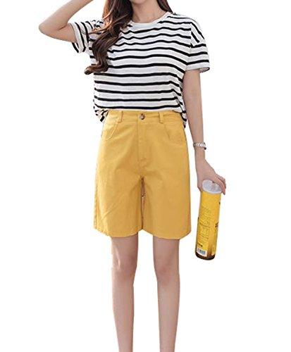 アプトこの倫理的[ジンニュウ] レディース パンツ 五分丈 体型カバー ショートパンツ 綿 ハーフパンツ 無地 ウエストゴム 夏 アウトドア カジュアル