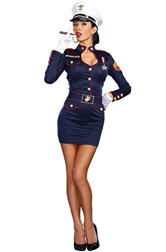 Dreamgirl Women's Take Charge Marge Military Captain Costume, Blue, X-Large (Military Halloween Costumes For Womens)