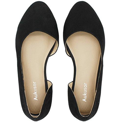 Aukusor Women's Wide Width Ballet Flat - Comfortable Slip On Closed Toe Casual Shoes.(Black 180401, 8.5WW)