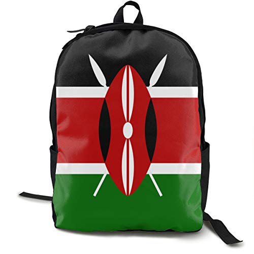 Casual Rucksack Large Capacity Multipurpose Anti-Theft Carry-On Bag Backpack for Gym Outdoors Bicycle - Kenya Flag, Travel Hiking Daypack