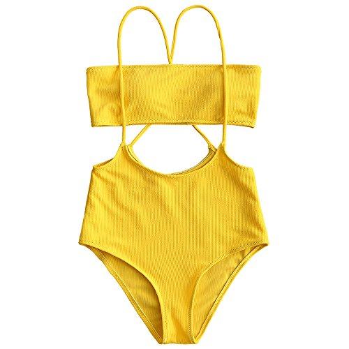 ZAFUL Women's Two Piece Ribbed Bandeau Top and High Waisted Slip Bikini Bottoms (Yellow, S) ()