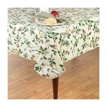 Elrene Home Fashions Vinyl Tablecloth With Polyester Flannel Backing Floral  Morning Easy Care Spillproof, 60