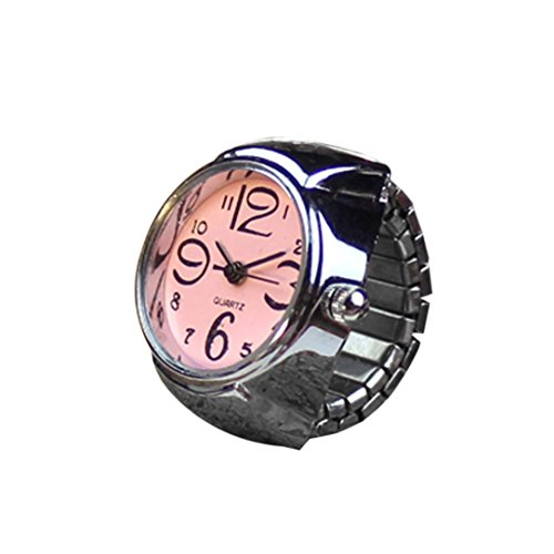 Start Unisex Men Women Couple Ring Watch Creative Elastic Stainless Steel Finger Watch (Pink)