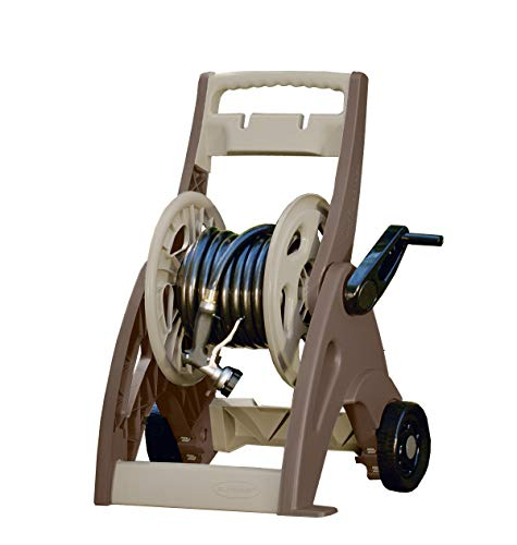 Garden Hose Reel - Suncast 175' Hosemobile Garden Hose Reel Cart - Garden Hose Caddy with Large Easy to Grip Crank for Garden, Lawn and Patio - Easylink System for Watertight Connection - Bronze and Taupe