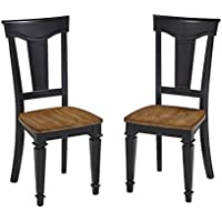 Home Styles 5003-802 Americana Dining Chair Pair, Black and Oak