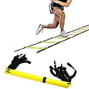 Agile shop Durable 4 Meter 8 rung Agility Ladder for Soccer, Speed, Football Fitness Feet Training with Black Carrying Bag