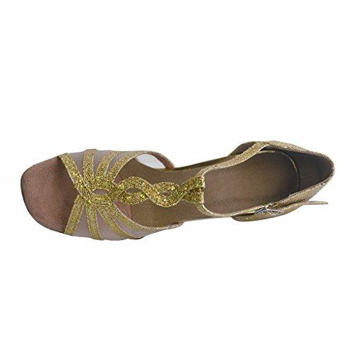 avec latine Chaussures 7 femmes Or nbsp;cm Foo open talon Tango Jig chaussures Doré toe danse de de pour salsa Sandales Rn6qwxBxI