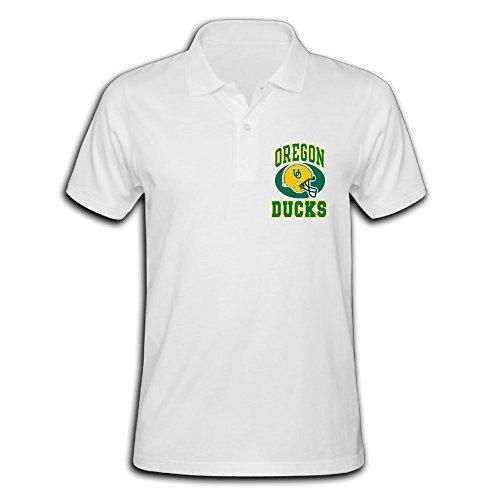 Oregon Ducks Helmet Logo White Hot Pique Polo T-Shirt for Men - XXL