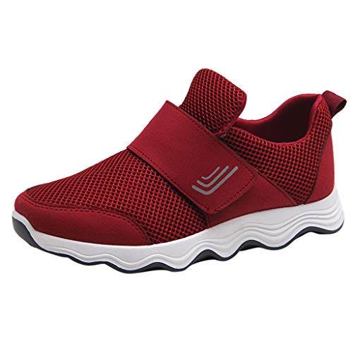 ANOKA Slip on Sneakers for Women Sale Fashion Casual Mesh Breathable Lightweight Sport Running Shoes Sneakers Red Size 6.5