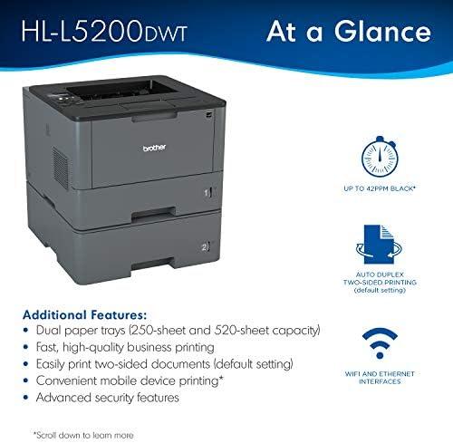 Brother Monochrome Laser Printer, HL-L5200DWT, Duplex Printing, Wireless Networking, Dual Paper Trays, Mobile Printing, Amazon Dash Replenishment Ready 41pw0OjasJL