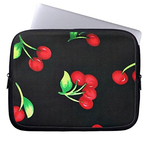 Cute retro red cherries fruit pattern on black computer slee