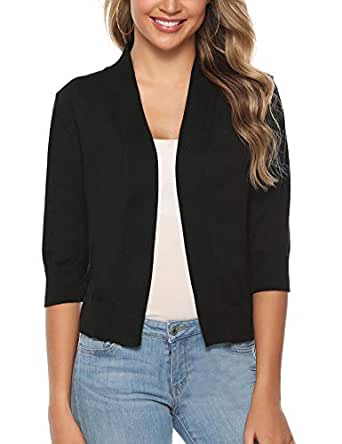 iClosam Women Open Front Knit Cardigan 3/4 Sleeve Cropped Bolero Shrug (Black Color, Small)