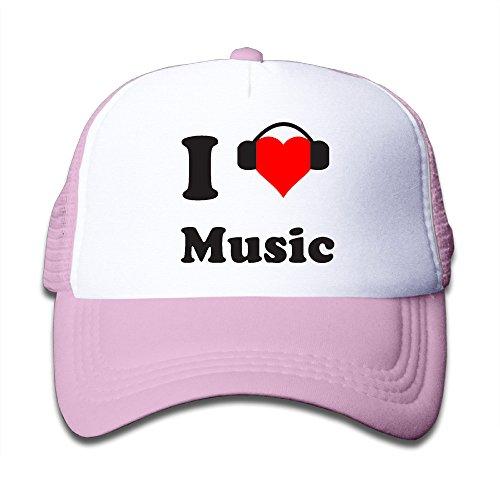 Henzhudi I Love Music Unisex Grid Baseball Caps Adjustable Nice Icon Baseball Cap Customize Pink