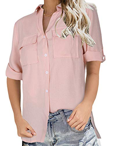 Niitawm Womens V Neck Blouse Shirts Button Down Short Sleeve Casual Loose Collared Tops with Pockets Pink