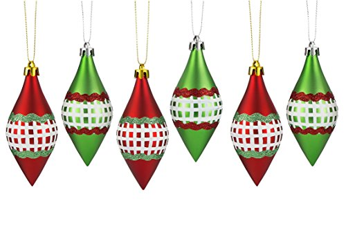 ipegtop Shatterproof Christmas Ball Ornaments, Red and Green Plaid Cone Hand-Painted Xmas Tree Decorations Baubles for Crafting Festival Wedding Party Home Decor, 115mm/4.5