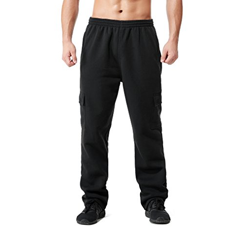 Athletic Heavyweight Sweatpants (Greatrees Men's Big and Tall Heavyweight Fleece Cargo Pants Black 3X)