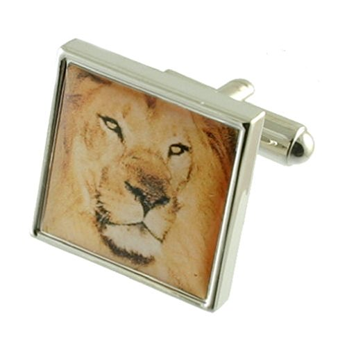 Zoo Lion Cufflinks Solid Sterling Silver 925 + Personalised Engraved Message Box by Select Gifts
