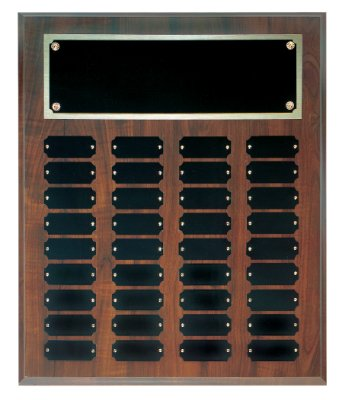 36 Plate Perpetual Plaque 15''x18'' FREE CUSTOM ENGRAVING Cherry Finish with Black Plates by J & C Baseball Clubhouse