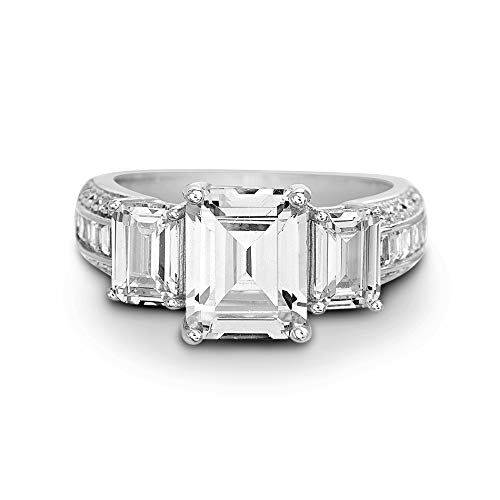 Devin Rose Three Stone Emerald and Baguette Cut Cubic Zirconia Anniversary/Engagement Ring for Women in 925 Sterling Silver (Baguette Size 6)