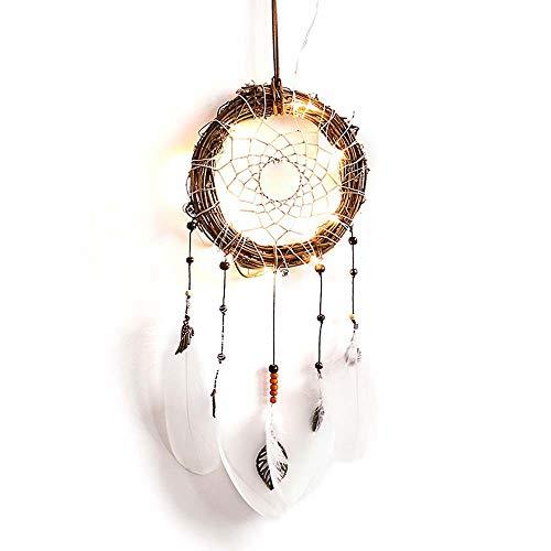 Hot Sale!UMFun Handmade LED Dream Catcher Cloud Feathers Night Light Car Wall Hanging Room Home Decor Birthday Gift (E)