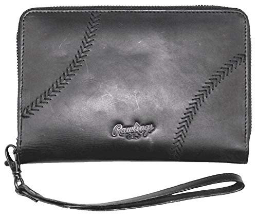 Rawlings Women's Baseball Stitch Phone Zip Wallet, Black, OS