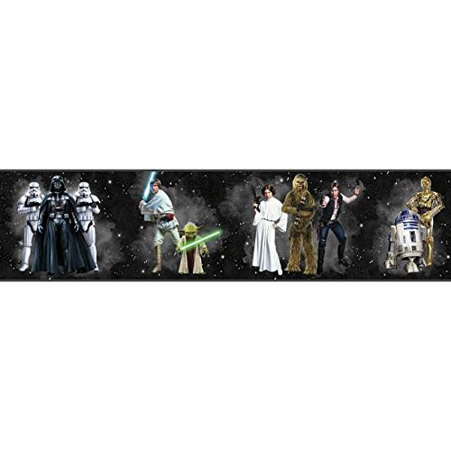 York Wallcoverings Disney Kids III Star Wars Classic Characters Border, Blacks (Wars Border Star Wallpaper)