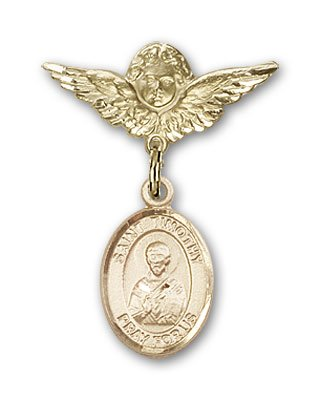 ReligiousObsession's Gold Filled Baby Badge with St. Timothy Charm and Angel with Wings Badge Pin Relious Obsession Jewels Obsession Jewels-9105GF/0735GF