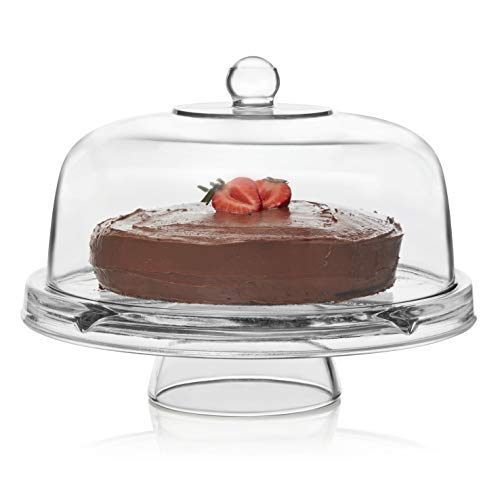 Libbey Selene 6-in-1 Multipurpose Server, Punch Bowl, Chip and Dip Bowl, Cake Stand -