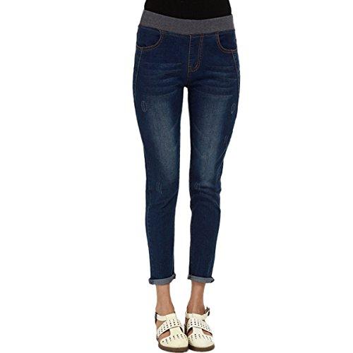 SANKE Les femmes tirent sur Skinny Denim Jeans taille lastique pantalons  la cheville Slim Fit Bleu Fonc